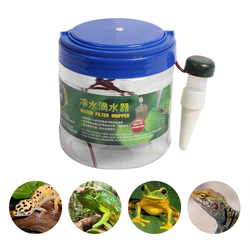 Reptil Air Filter Drip Sistem Air Mancur Minum Dispenser Air Humidifier untuk Bunglon Kadal Gecko Sprinkler