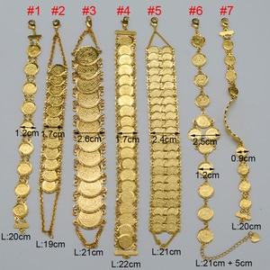 Image 2 - Anniyo זהב צבע כסף מטבע צמיד אסלאמי מוסלמי ערבי מטבעות צמיד לנשים גברים אמצע מזרח אפריקאית תכשיטי מתנות
