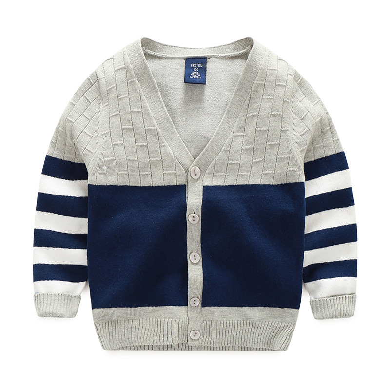 3362ba926 Kids Spring Autumn Sweater Boys Long Sleeve Patchwork Pull Fille Kids  Clothes Baby Boys Cardigan Sweater Navy Blue and Grey-in Sweaters from  Mother & Kids ...