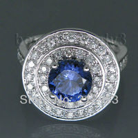 Popularny Wedding Ring Vintage Okrągły 7mm 14kt White Gold Tanzanite dla kochanka