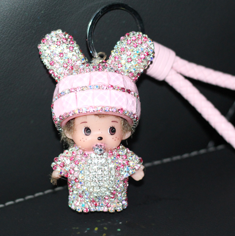 Кролик Monchichi Брелок Sleutelhanger Стразами Брелок Брелок Кожаный Ремешок Женщины Автомобилей Сумка Кошелек Шарм Porte Clef Fourrure M80