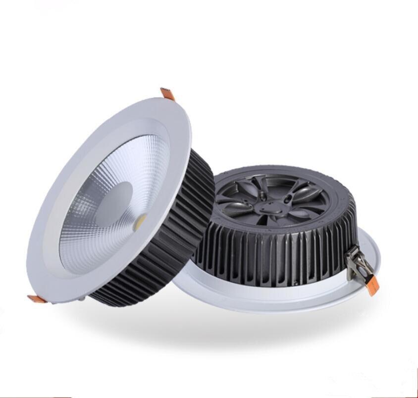 Встраиваемые cob затемняемый светильник 10 Вт 15 Вт 20 Вт 30 Вт 40 Вт 50 Вт 60 Вт приглушить LED пятно света Светодиодная лампа потолка AC110V 220 В IP44