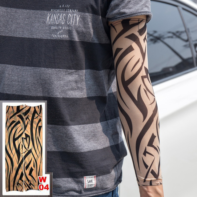103c9f83566 1pc tattoo sleeve elastic Fake Arm stockings Tribe design Sun totem wolf  dragon tiger Brown skin