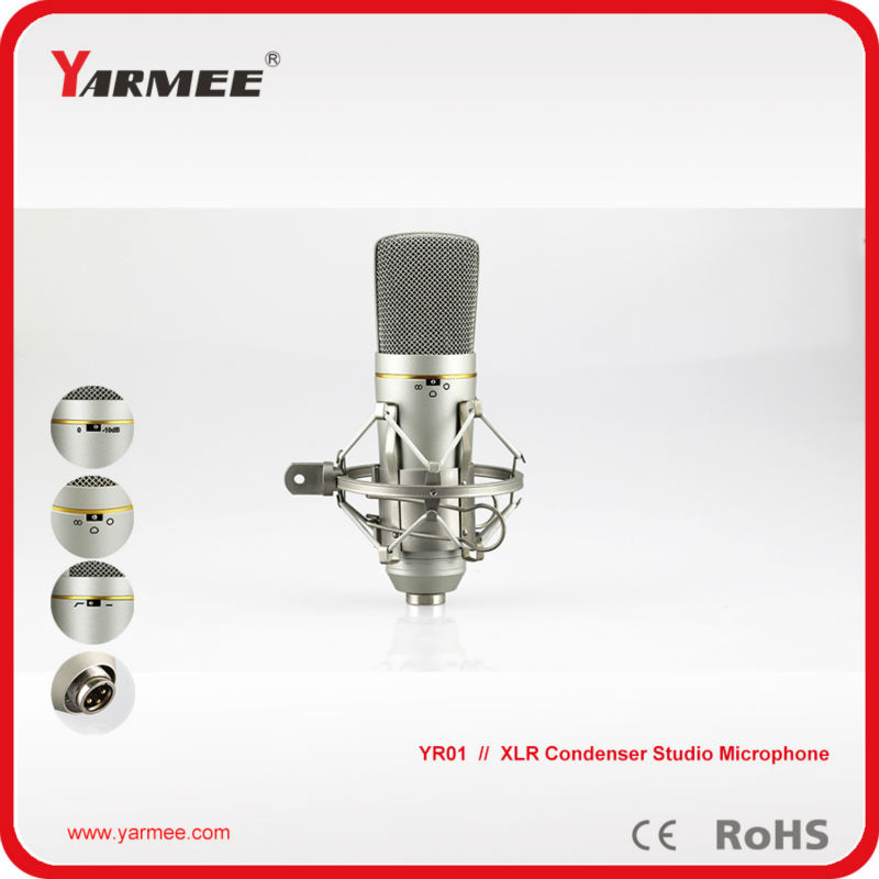 Fast Shipping !!! High Quality Professional XLR Condenser Dynamic Studio Recording Microphone / Singing Mic With Aluminum Box best quality yarmee multi functional condenser studio recording microphone xlr mic yr01