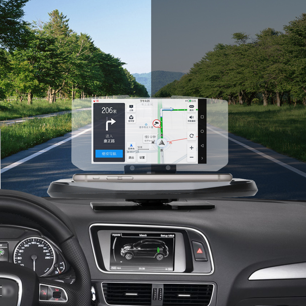 Image 2 - BORUiT Universal Car HUD Speed Warning  Head Up Display GPS Navigation Projector Phone Holder Wireless Charger for Phone-in Head-up Display from Automobiles & Motorcycles