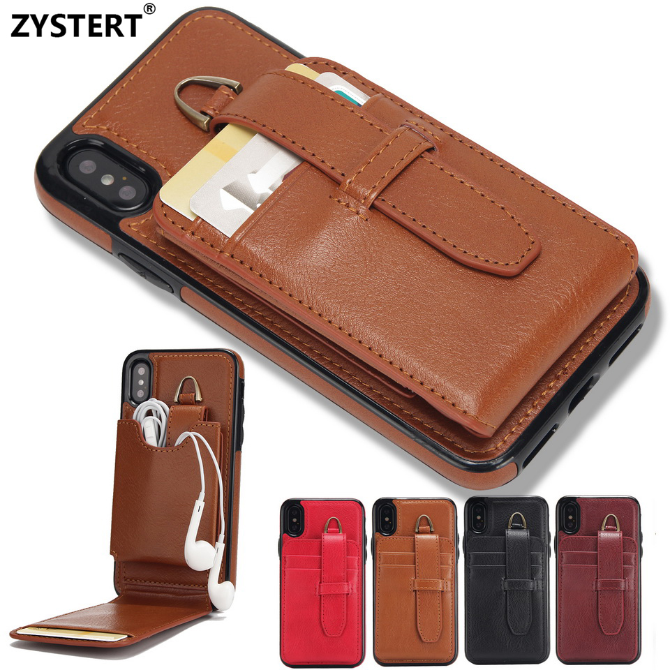 ZYSTERT Coque Headset Package Strap Case Cover Leather Luxury Wallet Card Holder Back Stand Capa For iPhone X/10 Ten Funda