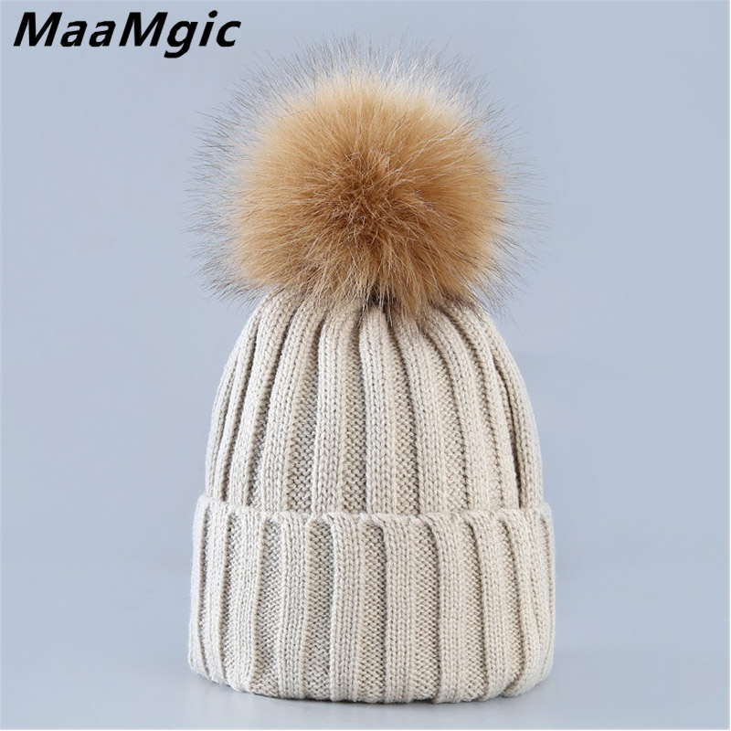 New Fahion mink and fox fur ball cap pom poms winter warm hat for women girl 's hat knitted beanies cap brand thick female hat 2017 new fur ball cap pom poms keep warm winter hat for women girl s hat knitted beanies letter brand new thick female capm 003