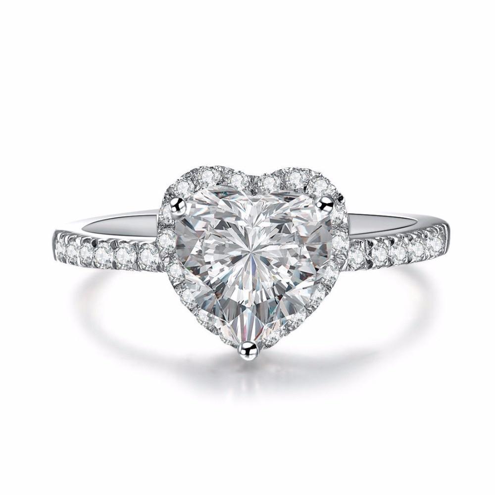 2CT Vintage Heart Shape Diamond Female Sterling Silver Ring Fine Silver Jewelry