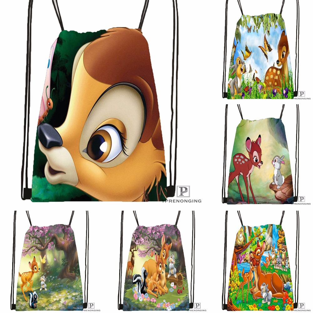 Custom Bambi And Faline Adults Drawstring Backpack Bag Cute Daypack Kids Satchel (Black Back) 31x40cm#180531-03-03
