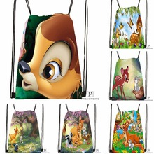Custom Bambi and Faline Adults Drawstring Backpack Bag Cute Daypack Kids Satchel Black Back 31x40cm 180531