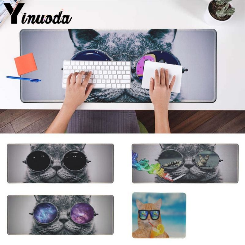 Yinuoda Hot Cat animal cat with glasses Laptop Gaming Mice Mousepad Size for 180*220 200*250 250*290 300*900 and 400*900*2mm