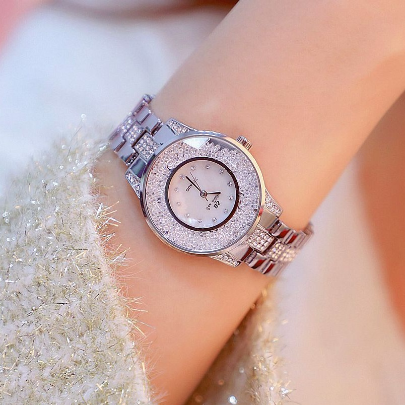 35mm Diamond Dial Ladies Watch Women Quartz Watches Luxury Golden Female Fashion Casual Watch Montres Femme Bracelet Watches wecin f5049 female quartz watch with diamond decoration golden watch case