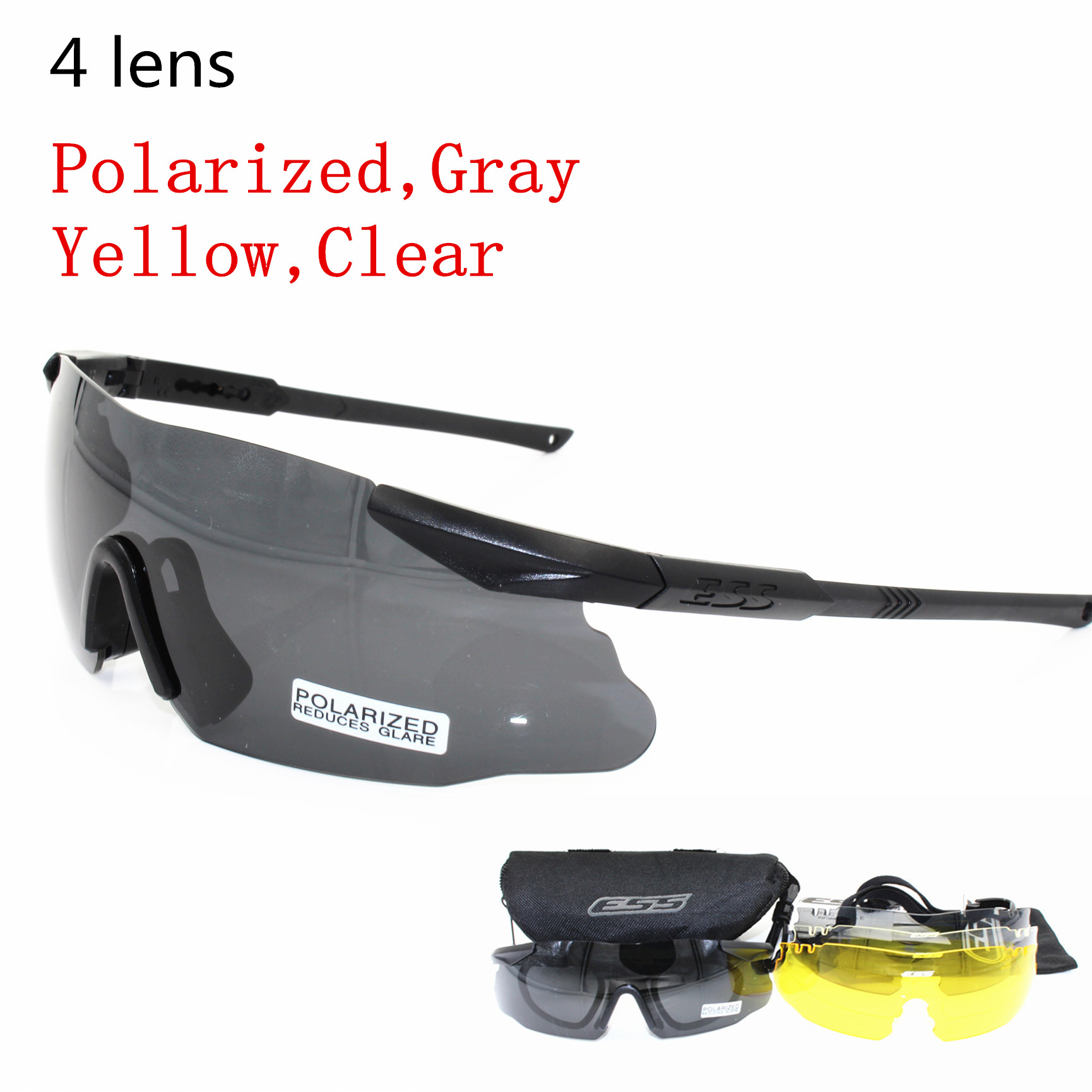 ESS ICE Brand Men Sunglasses Military Polarized 3/5 Lens Safety Glasses Tactical Army Goggles Outdoor Hunting Combat Wargame