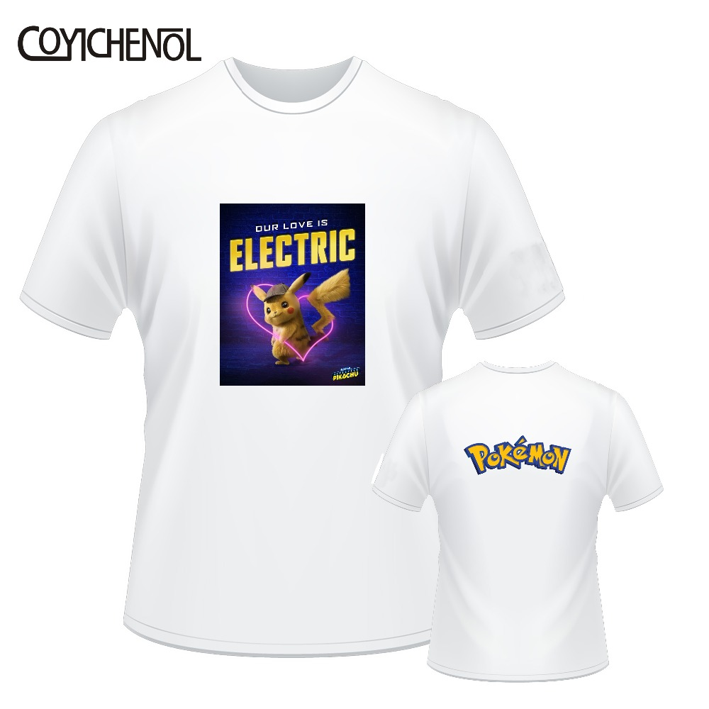 <font><b>Detective</b></font> <font><b>Pikachu</b></font> customize print <font><b>tshirt</b></font> men casual short sleeves tops large size solid color top oversized regular tee image