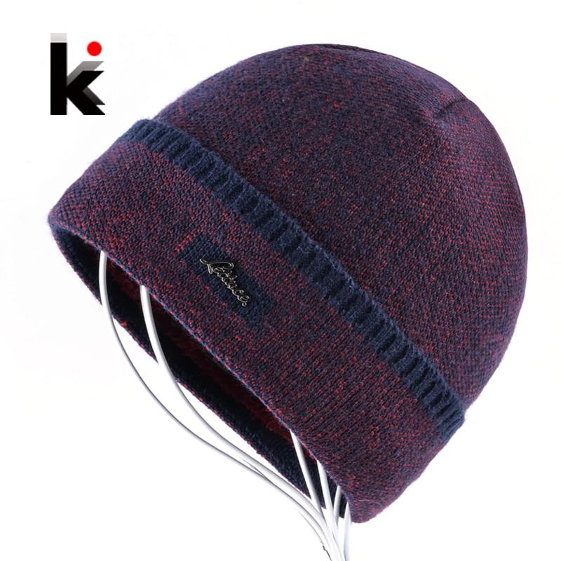 Winter Hat Thick Knitted Skullies Beanies Men Double Layer Keep Warm Knitting Hats For Men Add Velvet Caps Boy Touca