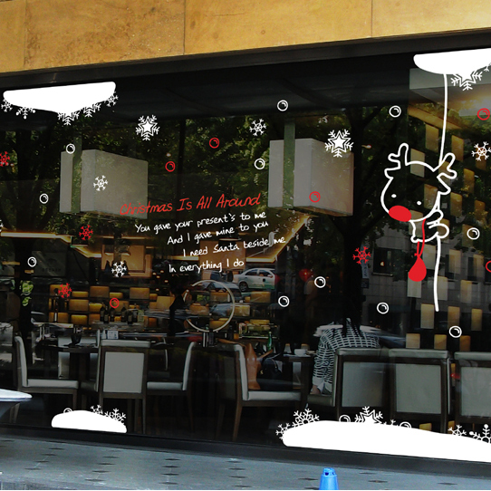 Buy large christmas buck art wall sticker for Coffee shop setup and decor