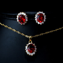 Fashion Party Red Stone Garnet Crystal Necklace&Earrings Jewelry Sets For Women Rhinestone Gold Bridal Jewelry Sets