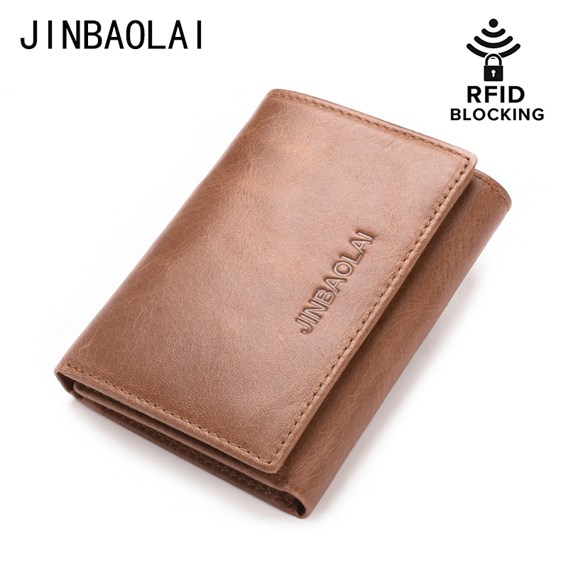 JINBAOLAI Genuine Leather Men Trifold Wallet with Double ID wINDOW RFID Blocking Credit Card Holder Coin Purse Carteira цена 2017