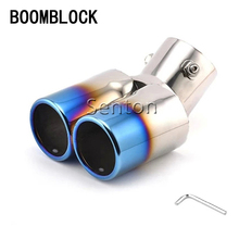 BOOMBLOCK Car Exhaust Tail Pipe For Chevrolet Cruze Aveo Ford Focus 2 Kia Rio K2 Mazda 6 5 Peugeot 207 307 Twin Curved Tailpipe стоимость
