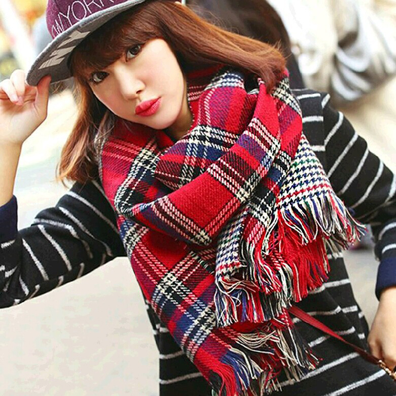 Hot Autumn And Winter Cashmere Plaid Tartan Double Sides Lengthen Thick Warm Scarf Shawl Female Cappa Tippet Tassel 192*55cm