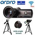 "Free shipping!ORDRO HDV-D395 Full HD 1080P 18X 3.0""Touch Digital Camera+Wide-angle Lens+Tripod"