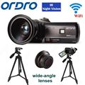 """Frete grátis! hdv-d395 ordro full hd 1080 p 18x3.0 """"toque digital camera + lente grande-angular lens + tripé"""