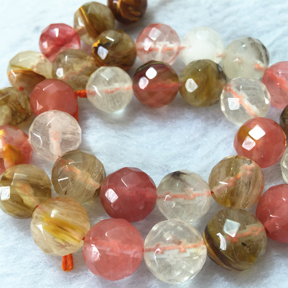 Romantic <font><b>Tourmaline</b></font> <font><b>stone</b></font> multicolor <font><b>Watermelon</b></font> jades crystal Faceted Round 4mm 6mm 8mm 10mm 12mm Loose Bead 15'' MY5365 image