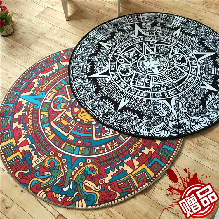The Maya Personality Totem Carpet Folk Style Round The Living Room Bedroom Computer Chair Cushion Blanket Tent Hallway Mat Rug