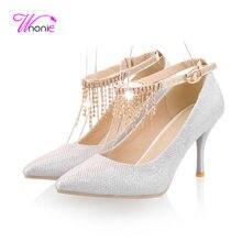 2017 mode Frauen Pumps Riemchen Dünne Spike High Heels Spitz-toe Crytal String Frühling Herbst Party-kleid Sexy damen Schuhe