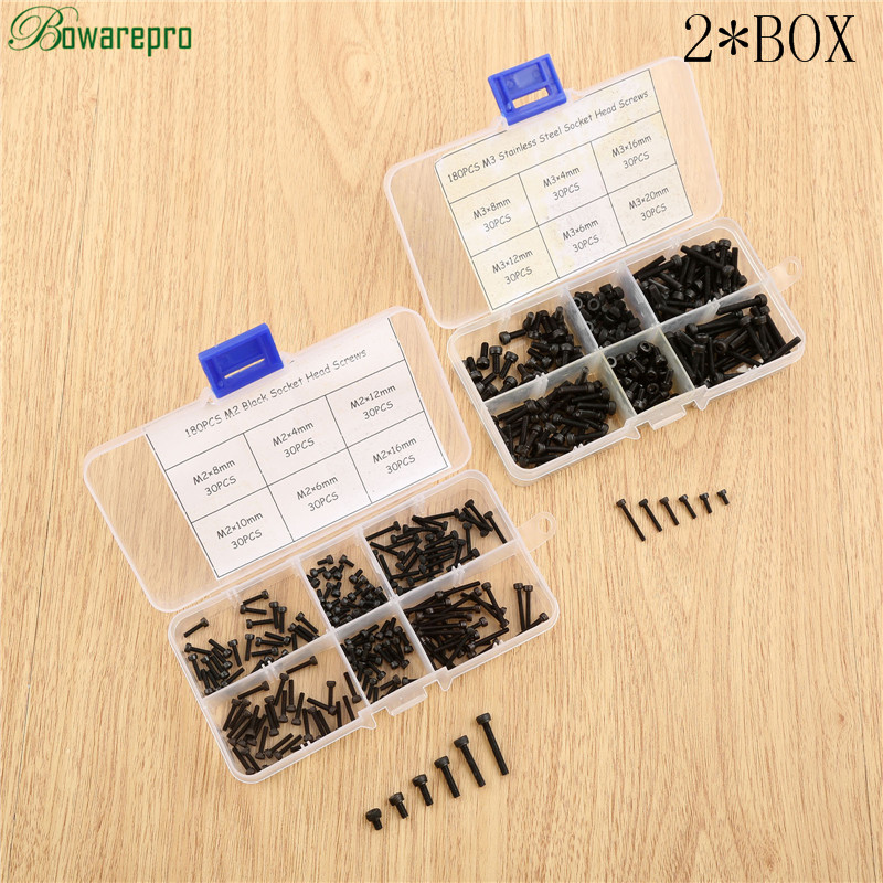 bowarepro 360PCS M2+M3 Socket Head Screws kit Stainless Steel Hex Socket Head Cap Screw M4/M6/M8/M12/M16/M20 Accessories 2 Lots 250pcs set m3 5 6 8 10 12 14 16 20 25mm hex socket head cap screw stainless steel m3 screw accessories kit sample box