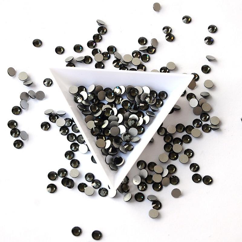 2058NoHF Black Diamond Stones Wszystkie rozmiary Koło koraliki Nail - Sztuka zdobienia paznokci - Zdjęcie 2
