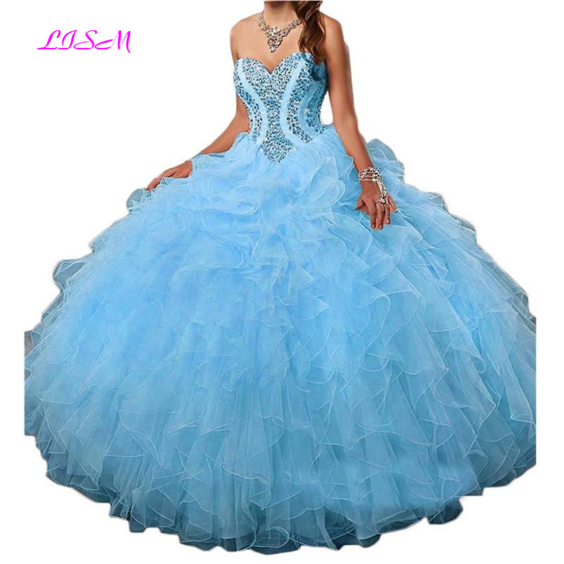 Sweetheart Crystals Beaded Organza Quinceanera Dresses 2019 Sweet 16 Prom Ball Gown Ruffles Dress Plus Size