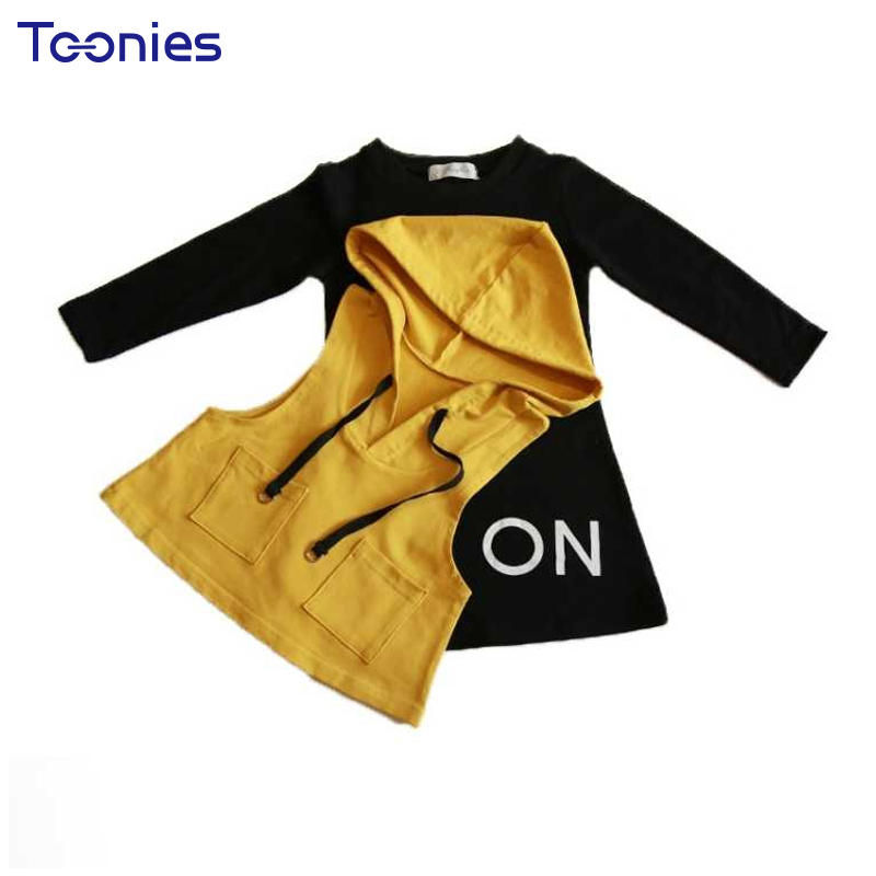 Spring Autumn Children Suits Fashion Girls Clothing Sets Casual Girl Clothes Set Cute Princess Costume Hooded Vests+Dress Suits 2017 spring autumn children girls set new brand fashion solid shirts cotton pants 2 pieces suits casual kids clothing sets hot