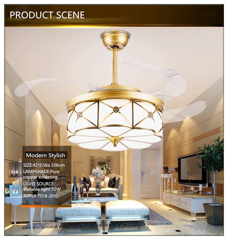 Modern Bronze Elegant Round Shaped Led Ceiling Fan Lights