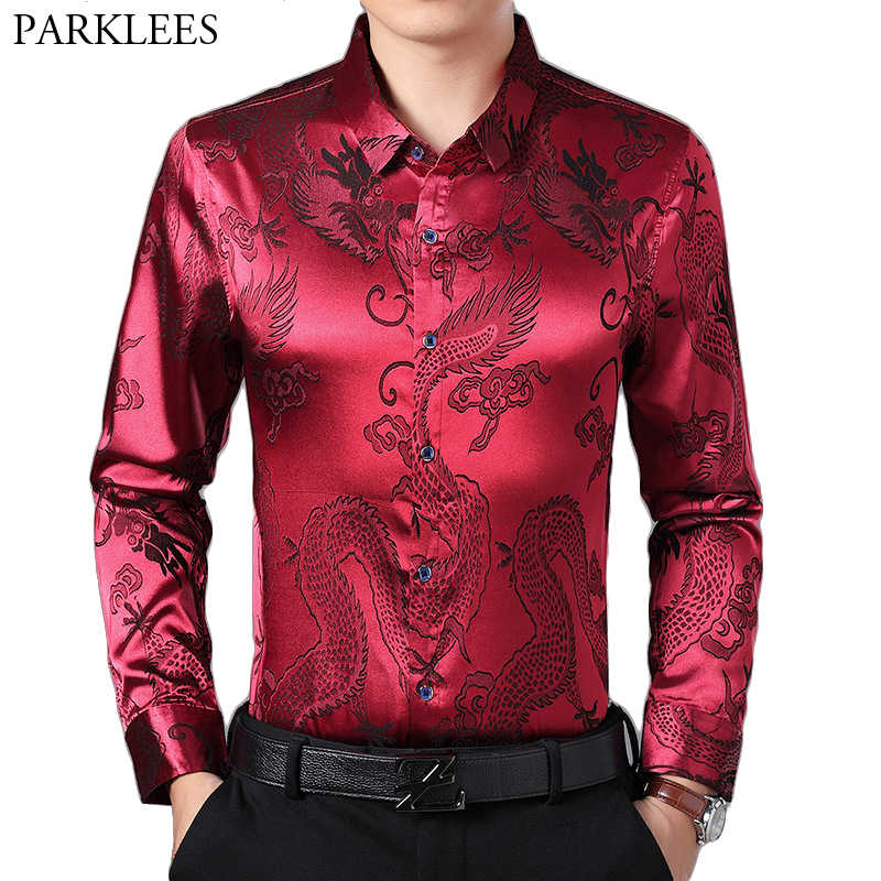 Wine Red Smooth Silk Satin Shirt Men 2019 Chinese Dragon Jacquard Mens Slim Fit Long Sleeve Button Down Dress Shirts Chemise 4XL