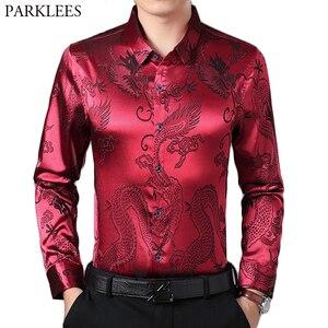 Wine Red Smooth Silk Satin Shirt Men 2019 Chinese Dragon Jacquard Mens Slim Fit Long Sleeve Button Down Dress Shirts Chemise 4XL(China)
