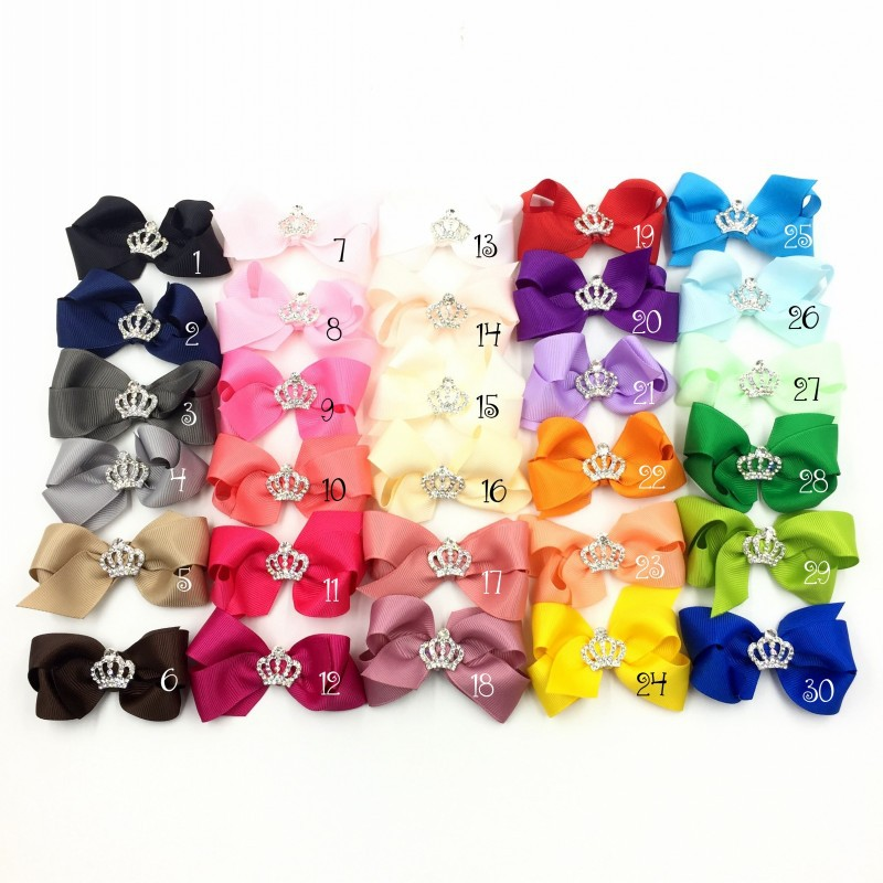 """50pcs/lot 3"""" 30colors Handmade Grosgrain Bows+Crown Buttons Ribbon Boutique Flower Bows+Clip For Kids Girls Hair Accessories-in Hair Accessories from Mother & Kids    1"""