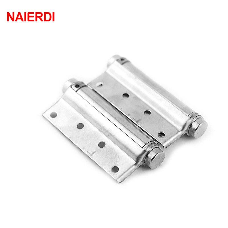 2PCS NAIERDI-5107 5 Inch Double Action Spring Door Hinge Stainless Steel Rebound Hinge For Cafe Swing Western Furniture Hardware цена 2017