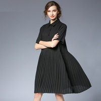 2017 Summer Style Women Middle Long Chiffon Dress Turn Down Collar Loose Fit Pleated Dress Casual