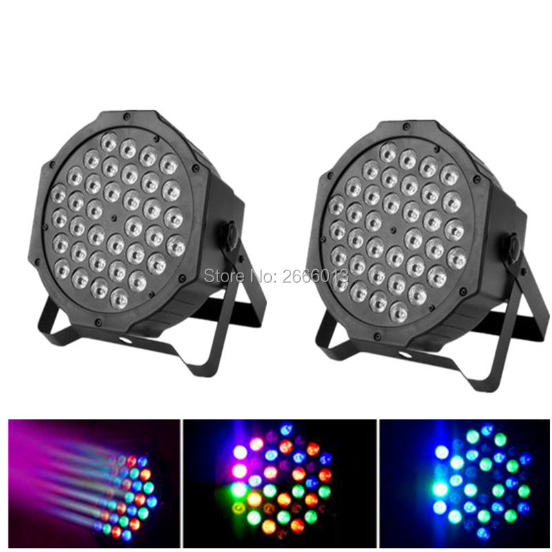 2pcs/lot Professional 36X3W RGB Flat Par LED DMX Stage Lighting Effect DMX512 Master-Slave LED Flat For DJ Disco Party KTV Bar premium led stage lights 18w rgb led flat par light stage lamp dmx512 disco dj bar effect up lighting for dj disco party ktv