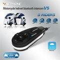 1 unids V5 1200 M Bluetooth de la motocicleta intercomunicador del casco BT Moto Interphone auriculares para auriculares estéreo MP3 / GPS / Phone 5 jinetes con FM