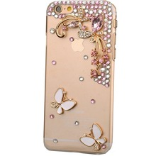 Bling Rhinestone Diamond Crystal Glitter Bling Case Cover Shell Phone Case for Iphone4s 5s 5c 6/6plus 7/7plus case(Butterfly)