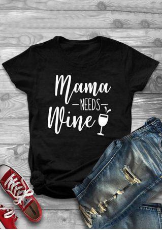 Vessos 2018 Women Man T-Shirts O-Neck Short Sleeves Mama Needs Wine Glasses Letter Printed Popular Fashion Trend Stylish Black