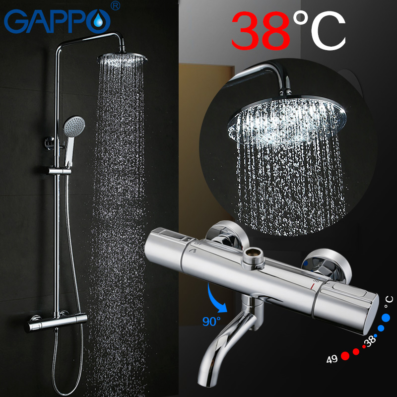 GAPPO Shower System bathroom shower thermostat faucet tap waterfall wall mount thermostatic shower mixer with shower faucets dual handle thermostatic faucet mixer tap copper shower faucet thermostatic mixing valve bathroom wall mounted shower faucets