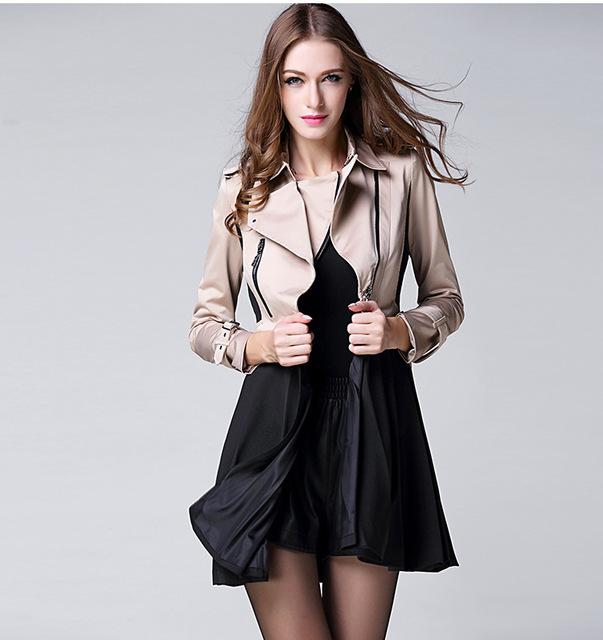 Arlene sain cáqui de algodão mulheres longo trench coat com a moda saia Uma Linha patchwork turn down collar XS-6XL Frete Grátis Xia