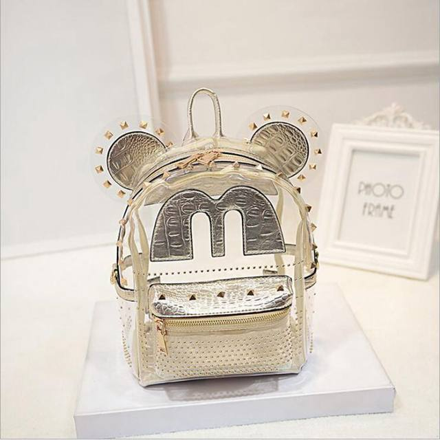 Online Shop Mouse Ears Cute cartoon Clear Transparent Backpack ...