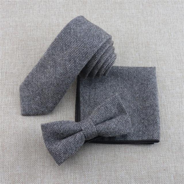 Mantieqingway Lazos para Hombre de Lana Ocasional Conjuntos de Boda Bowtie Pañuelo de Los Hombres de Negocios Corbatas Gravatas Empate Pañuelos de Cuello Delgado