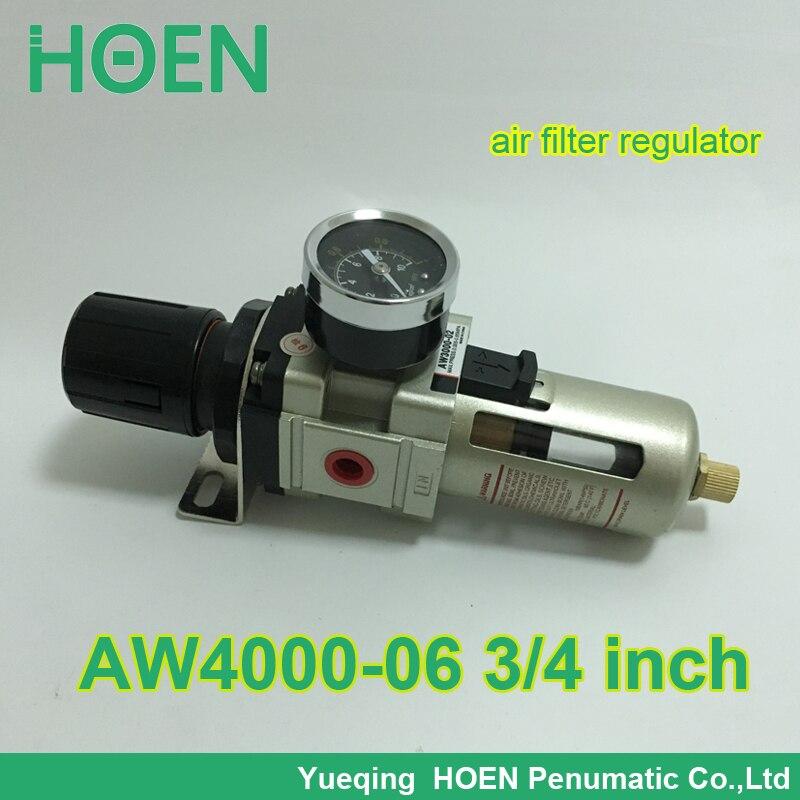 AW4000-06 PT3/4 SMC type pneumatic air filter regulator with Manual drain 3/4 inch air treatment unit pneumatic air filter regulator aw3000 03d 3 8 smc type air treatment unit automatic drain type