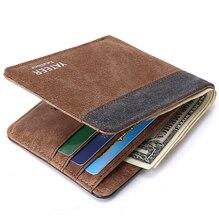 Venta caliente Vintage estilo corto de lona con cuero de hombre monedero de la cartera para hombre 4 colores carteira masculina monederos