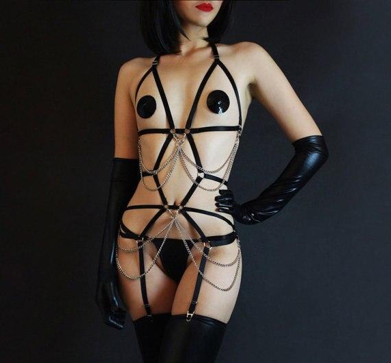 Strappy, body harness, пояс для чулок, цепи, черный, эротическое белье, кабала наряд, женское белье, люкс женское белье, Playsuit